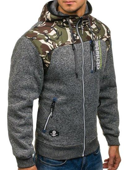 Maskáčovo-grafitová pánská mikina na zip s kapucí Bolf HH515
