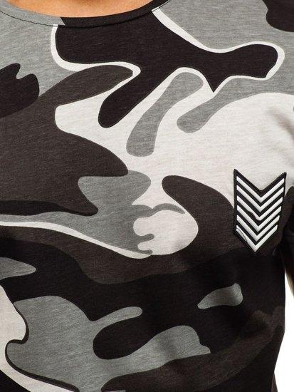 Maskáčovo-šedé pánské tričko s potiskem Bolf 708