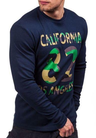 Maskáčovo-tmavě modré pánské tričko s dlouhým rukávem a potiskem Bolf 4630