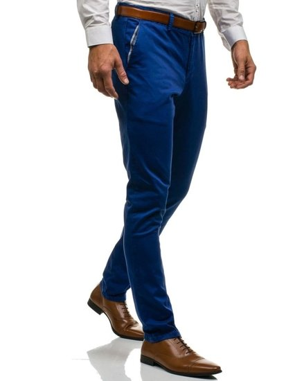 Modré pánské společenské kalhoty Bolf 4326
