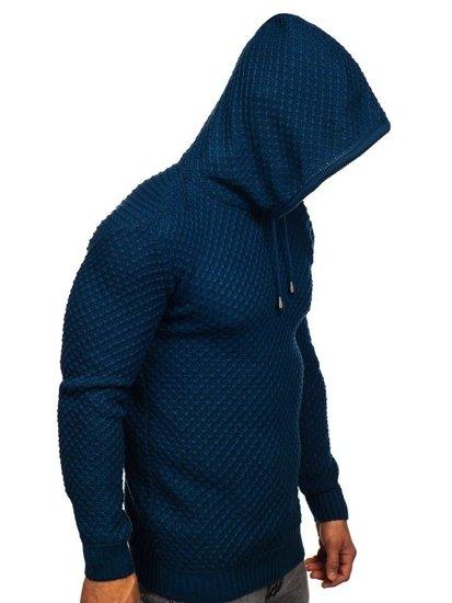 Modrý pánský svetr s kapucí Bolf 7004
