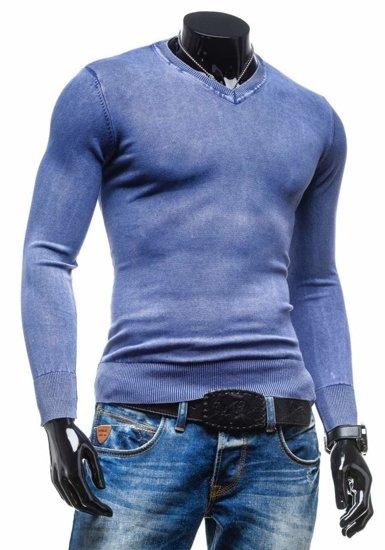 Modrý pánský svetr s výstřihem do V Bolf 6029