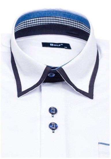 Pánská bílá elegantní košile s dlouhým rukávem Bolf 6902