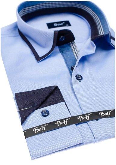 Pánská blankytná elegantní košile s dlouhým rukávem Bolf 6902