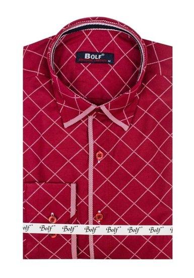 Pánská bordová vzorovaná košile s dlouhým rukávem Bolf 1692