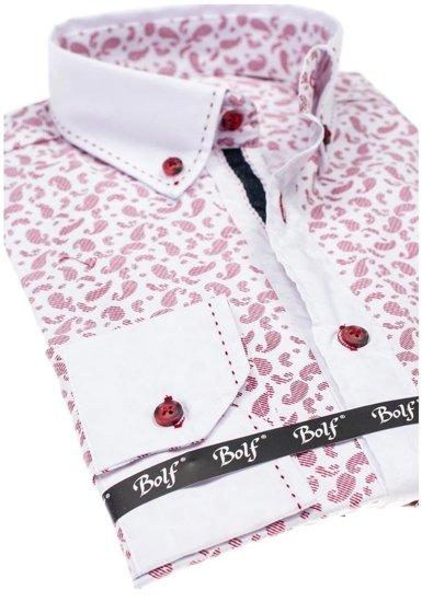 Pánská bordová vzorovaná košile s dlouhým rukávem Bolf 6926