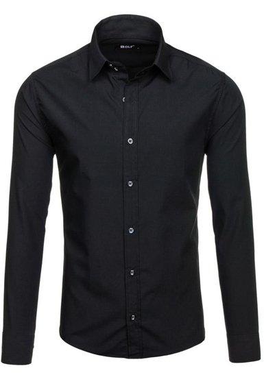 Pánská černá elegantní košile s dlouhým rukávem Bolf 6928