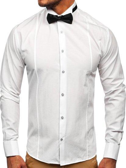 Pánská košile BOLF 4702 bílá+motýlek+manžetové knoflíky