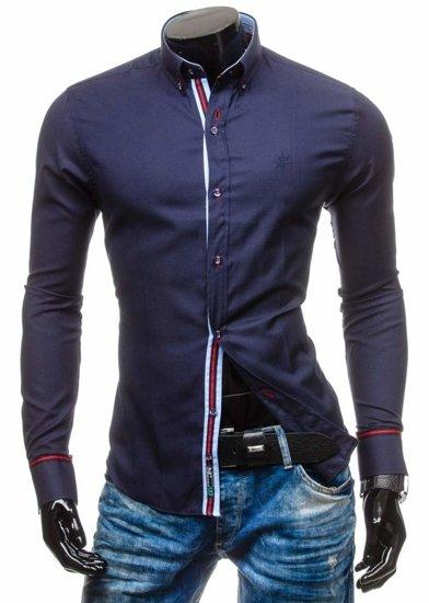 Pánská košile BOLF 5801 tmavě modrá