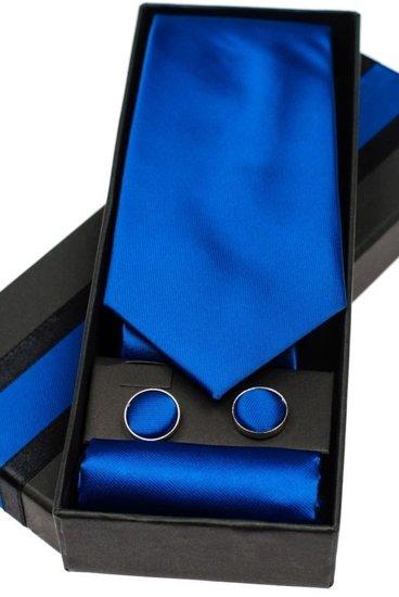 Pánská sada kravata, manžetové knoflíčky, královsky modrý kapesníček Bolf KSP01