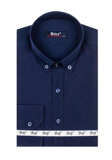 Pánská tmavě modrá elegantní košile s dlouhým rukávem Bolf 5821-1