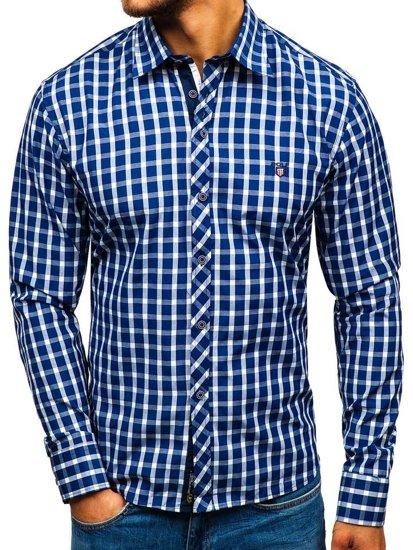Pánská tmavě modrá elegantní kostkovaná košile s dlouhým rukávem Bolf 4747-1