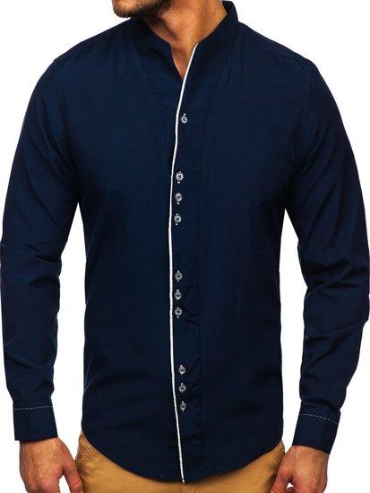 Pánská tmavě modrá košile s dlouhým rukávem Bolf 5720