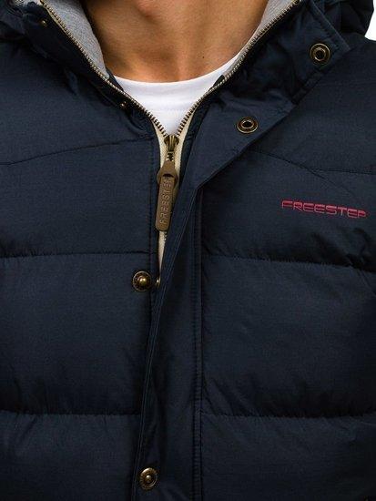 Pánská tmavě modrá vesta s kapucí Bolf K113