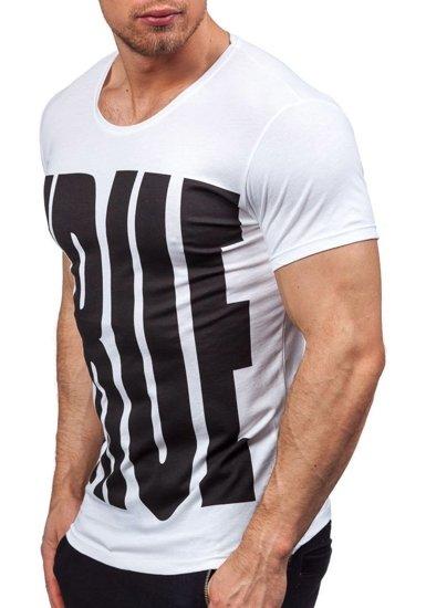 Pánské bílé tričko s potiskem Bolf 9018