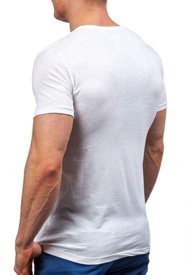 Pánské bílé tričko s potiskem Bolf 9056