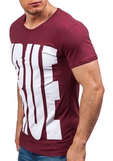 Pánské bordové tričko s potiskem Bolf 9018