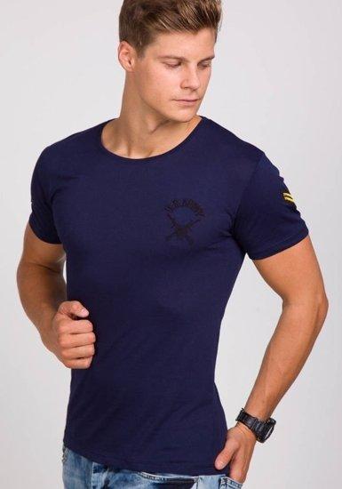 Pánské inkoustově modré tričko s potiskem Bolf 9021