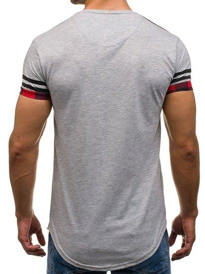 Pánské šedé tričko s potiskem Bolf 2062