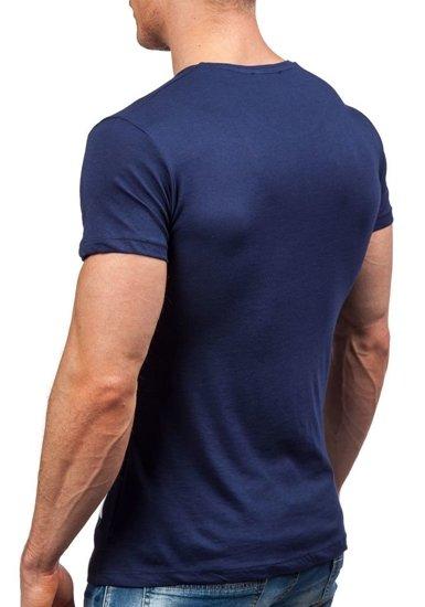 Pánské tmavě modré tričko s potiskem Bolf 9018