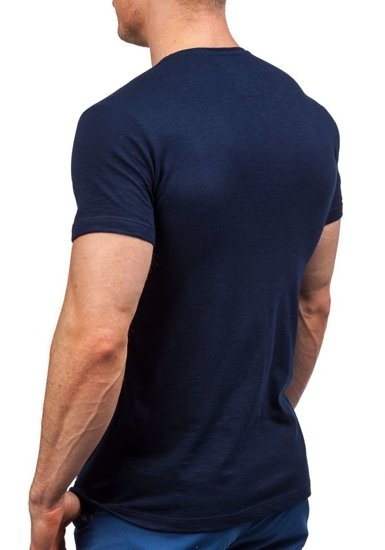 Pánské tmavě modré tričko s potiskem Bolf 9056