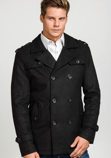 Pánský černý zimní kabát Bolf 306