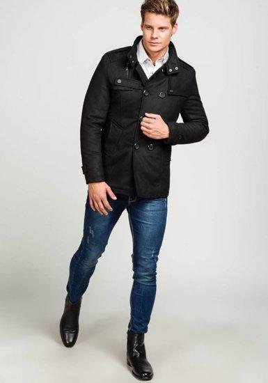 Pánský černý zimní kabát Bolf 308