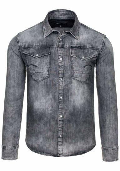 Šedá pánská džínová košile s dlouhým rukávem Bolf 4419