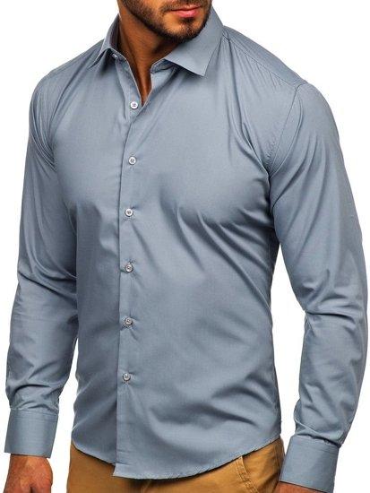 Šedá pánská elegantní košile s dlouhým rukávem Bolf 0001