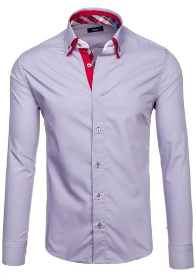 Šedá pánská elegantní košile s dlouhým rukávem Bolf 6895
