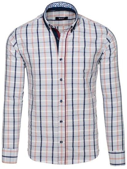 Šedá pánská kostkovaná košile s dlouhým rukávem Bolf 8809 7e53aaec4d