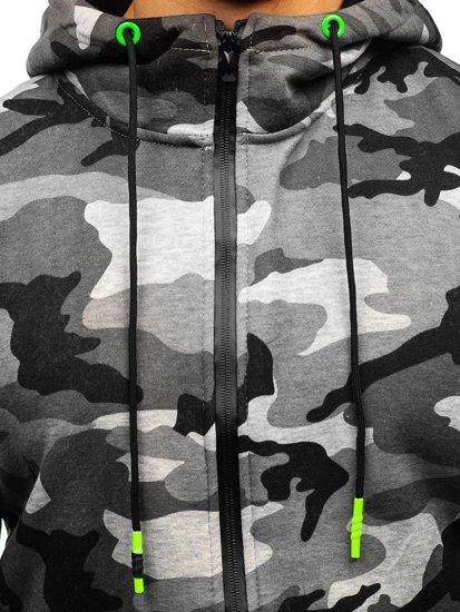 Šedá pánská maskáčová mikina na zip s kapucí Bolf 33017