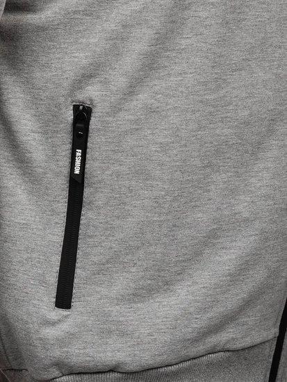 Šedá pánská mikina na zip bez kapuce Bolf JX9888