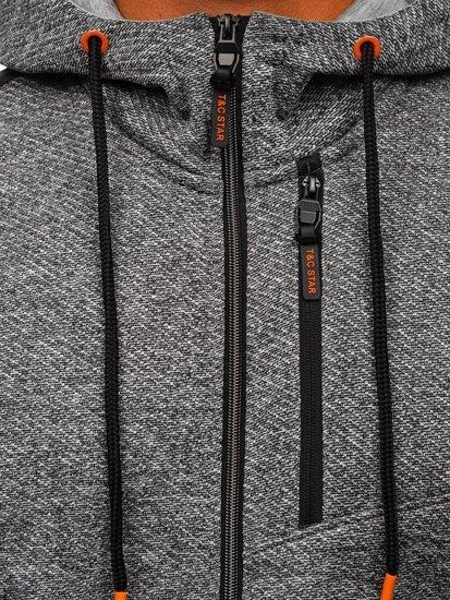 Šedá pánská mikina na zip s kapucí Bolf TC507