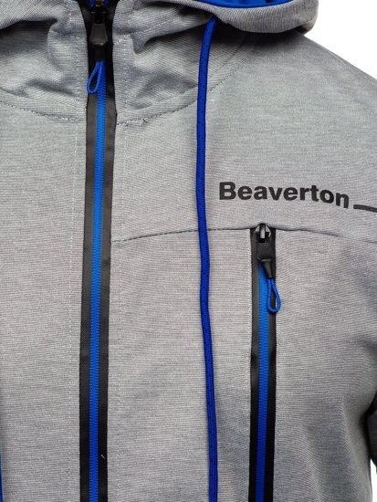 Šedá pánská mikina na zip s kapucí a potiskem Bolf DD20156