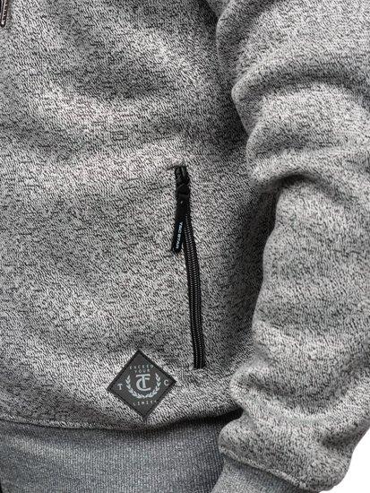Šedá pánská mikina s kapucí Bolf 2095