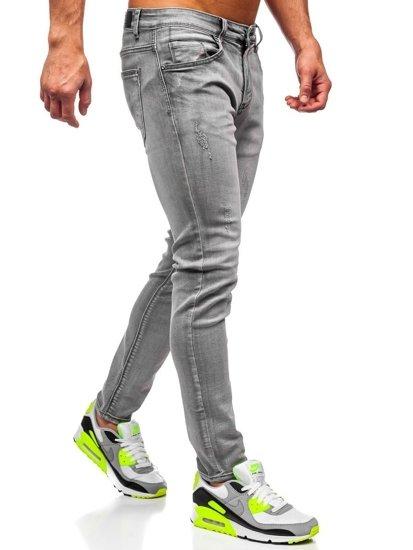 Šedé pánské džíny skinny fit Bolf KX129