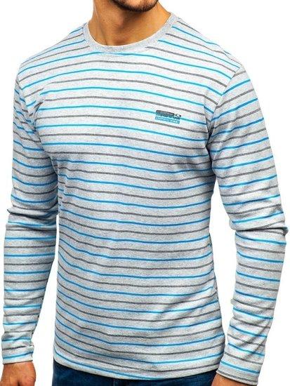 Šedé pánské proužkované tričko s dlouhým rukávem Bolf 1519-A