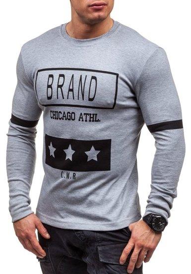 Šedé pánské tričko s dlouhým rukávem s potiskem Bolf 4634