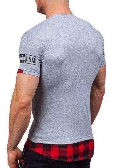 Šedé pánské tričko s potiskem Bolf 5112