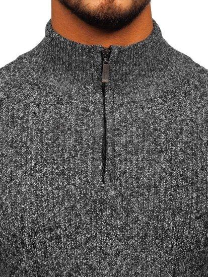 Šedý pánský svetr s vysokým límcem Bolf H1936