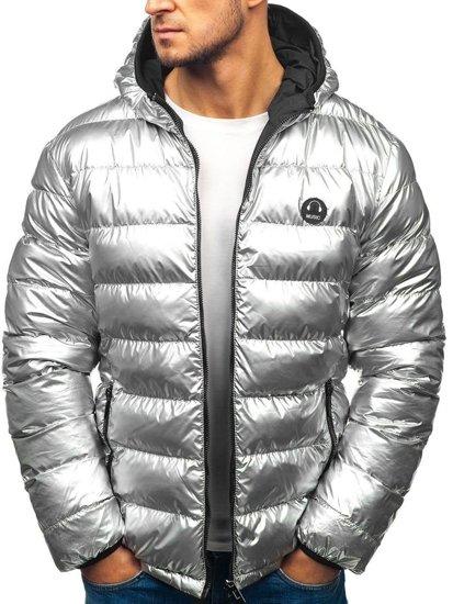 Stříbrno-černá pánská zimní oboustranná bunda Bolf 4790