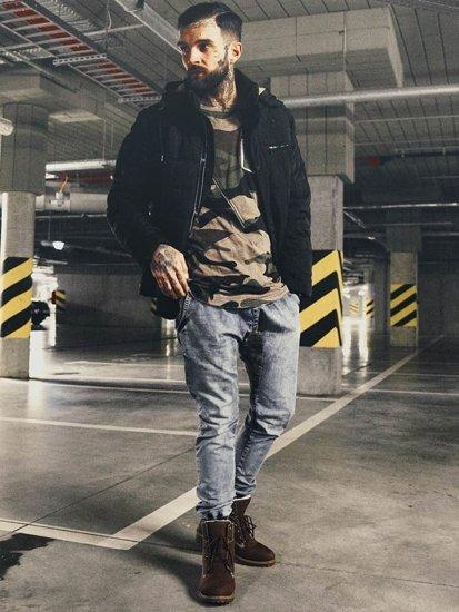 Stylizace č. 130 - přechodná bunda, tričko s dlouhým rukávem a potiskem, džíny, obuv