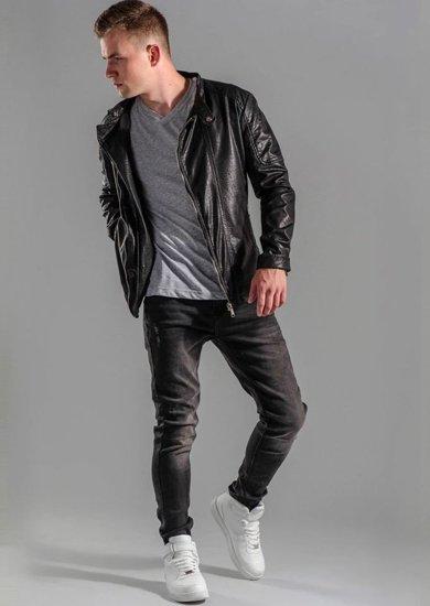Stylizace č. 49 - kožená bunda, tričko, džíny