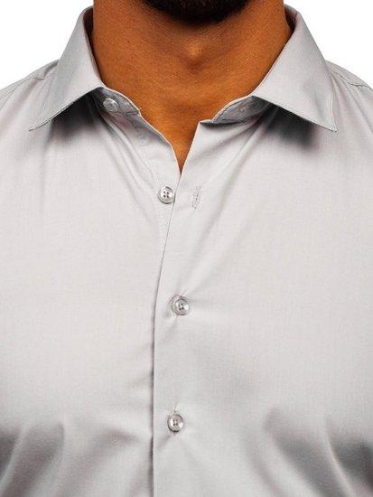 Světle šedá pánská elegantní košile s dlouhým rukávem Bolf 0001