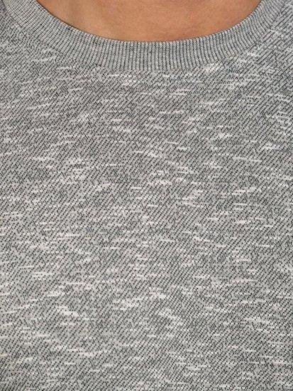 Světle šedá pánská mikina bez kapuce Bolf 7036