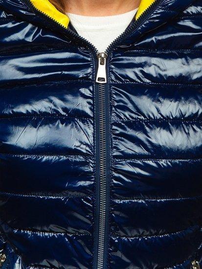 Tmavě modrá dámská prošívaná přechodová bunda s kapucí Bolf R9546