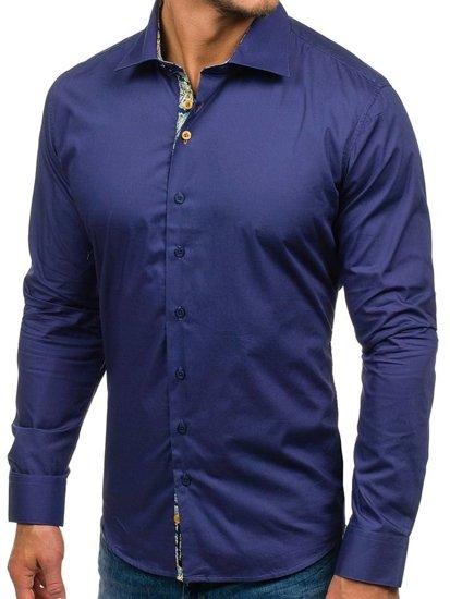 Tmavě modrá pánská elegantní košile s dlouhým rukávem 9983