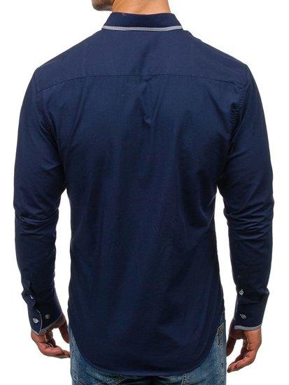 Tmavě modrá pánská elegantní košile s dlouhým rukávem Bolf 5800