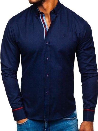 Tmavě modrá pánská elegantní košile s dlouhým rukávem Bolf  5801-A